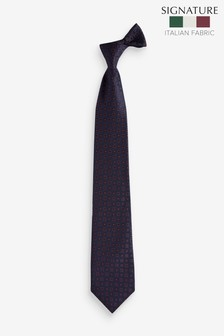 Geometric 'Made In Italy' Signature Silk Tie