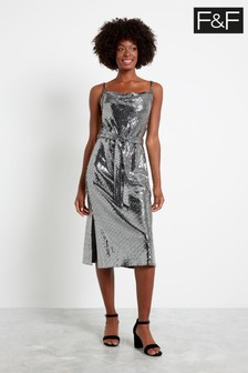 F&F Silver Sequin Cowl Midi Dress