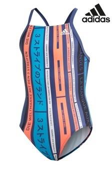 adidas Blue Stripe Logo Swimsuit