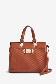 Hardware Detail Croc Effect Tote Bag