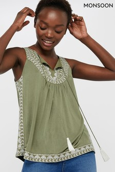 Monsoon Ladies Green Kal Jersey Embroidered Sleeveless Top