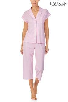 Lauren Ralph Lauren Classic Knit Short Dolman Sleeve Notch Collar, Capri Pant Pyjama Set