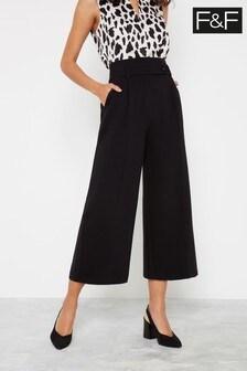 F&F Black Tab Crop Wide Trousers