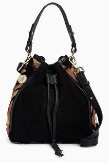 Leather Embellished Duffle Bag