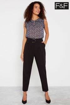 F&F Black Self Belt High Waist Tapered Trousers