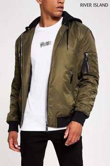 River Island Khaki Jersey Hood Bomber Jacket