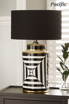 Pacific Optic Stripe Ceramic Table Lamp