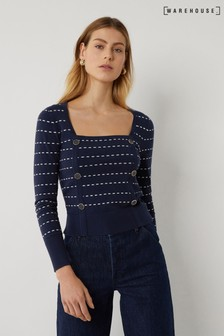 Warehouse Blue Stripe Line Square Neck Jumper