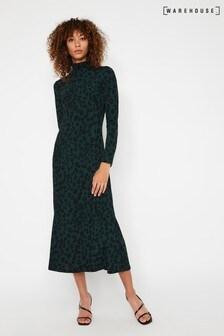 Warehouse Animal Leopard Roll Neck Midi Dress