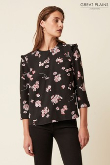 Great Plains Black Josephine Bloom Long Sleeve Round Neck Top