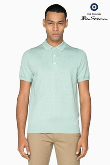 Ben Sherman Main Line Blue Short Sleeve Knitted Polo