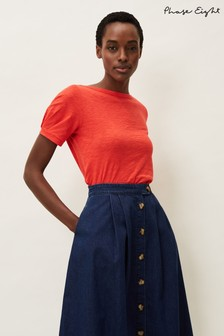 Phase Eight Red Elspeth Pleat Sleeve Top