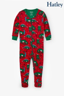 Hatley Red Festive Dinos Organic Cotton Footed Coverall Pyjamas