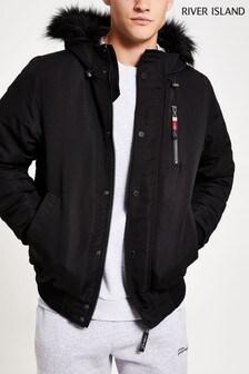 River Island Black Prolific Short Hooded Faux Fur Jacket