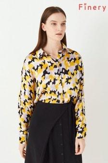 Finery London Yellow Eris Printed Satin Shirt