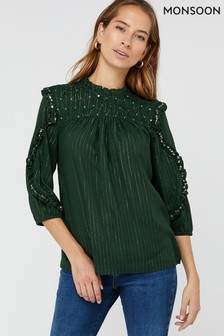 Monsoon Green Harlow Embellished Top