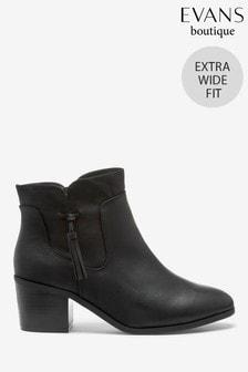Evans Extra Wide Fit Black Tassel Side Ankle Boots