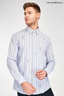 Koszula Emporio Armani z logo, w niebieskie paski