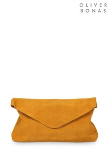 Oliver Bonas Yellow Suede Envelope Clutch Bag