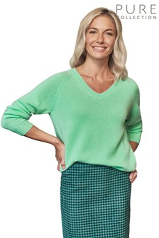 Pure Collection Green Cashmere Lofty V Neck Sweatshirt
