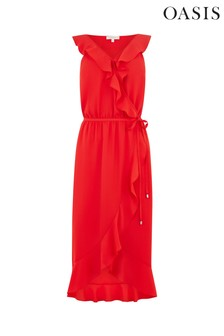 Oasis Red Ruffle Midi Dress