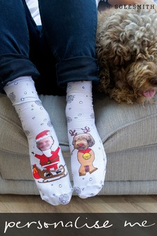 Personalised Dog And Owner Christmas Photo Socks by Solesmith