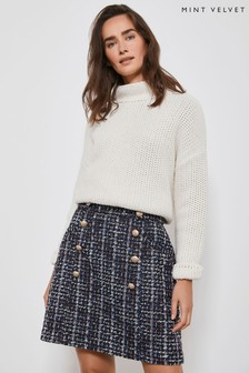 Mint Velvet Natural Tweed Military A-Line Skirt