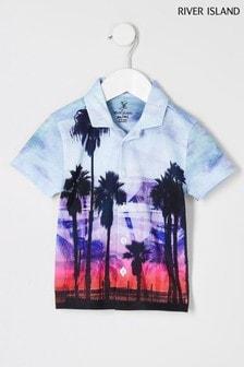 River Island Blue/Pink Palm Fade Shirt