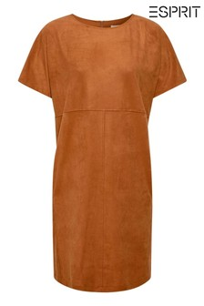 Esprit Brown Stretch Dress In Faux Suede