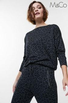 M&Co Blue Leopard Print Animal Batwing Top