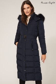Phase Eight Blue Mabel Maxi Padded Coat