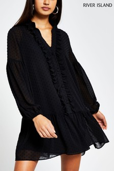 River Island Black Peplum Smock Dress