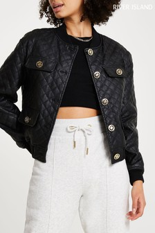 River Island Black PU Diamond Quilt Bomber Jacket