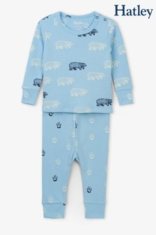 Hatley Blue Band Of Bears Organic Cotton Baby Pyjama Set