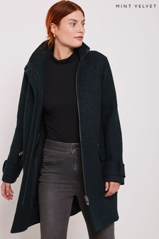 Mint Velvet Bottle Green Bouclé Biker Coat
