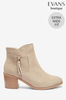 Evans Extra Wide Fit Brown Tassel Side Ankle Boots