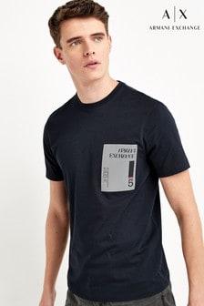 חולצת טי עם דוגמת מרובעים בצבע כחול כהה שלArmani Exchange