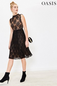 Oasis Black Lace Pleated Dress