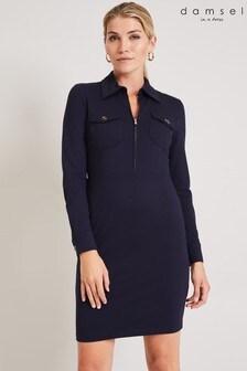 Damsel In A Dress Blue Kadie Zip Ponte Dress