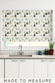Wildlife Deer Green Made To Measure Roller Blind