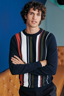 Vertical Stripe Crew Sweater