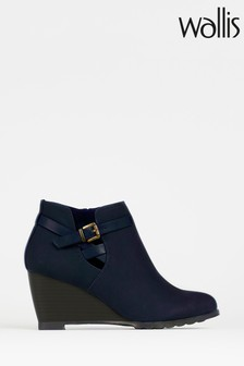 Wallis Amber Navy Buckle Wedge Ankle Boots