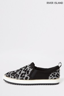 River Island Black Pineapple Flock Check Plimsoll Trainers