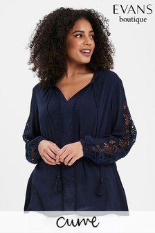 Evans Curve Navy Crochet Sleeve Blouse