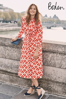 Boden Red Isodora Midi Shirt Dress