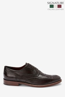 Signature Leather Wing Cap Brogues