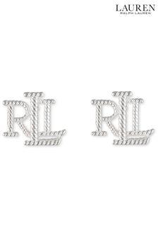 Lauren Ralph Lauren Sterling Silver Logo Stud Earrings