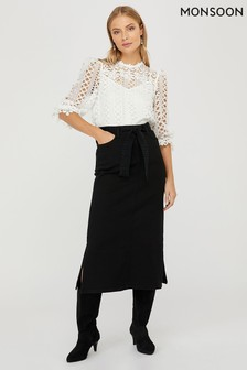 Monsoon Ladies Black Claremont Cotton Denim Skirt