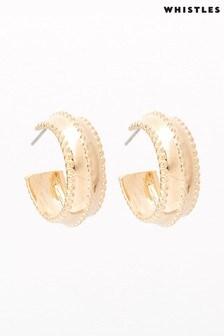 Whistles Gold Tone Mini Studded Hoop Earrings