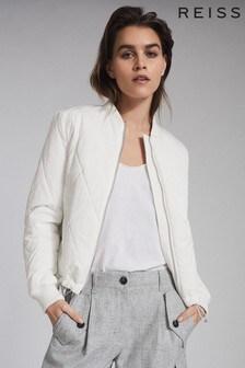 Reiss Cream Carla Lightweight Puffer Jacket